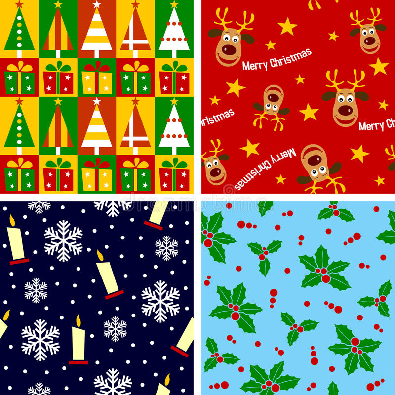 Christmas Seamless Tiles [1]. Set of four Christmas seamless backgrounds, useful also as design elements for textures, patterns or giftwrap. Check my portfolio
