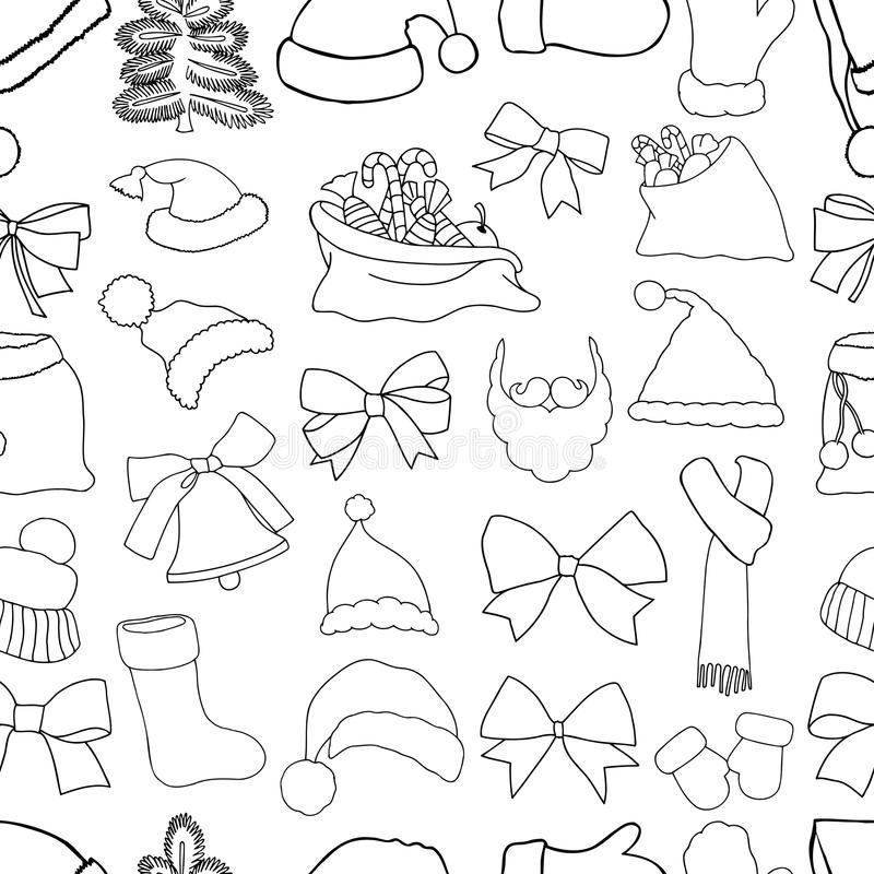 Christmas seamless vector pattern. Christmas monochrome seamless vector pattern. Holiday icons, patches, stickers. Gifts, christmas and balls. New Year royalty free illustration