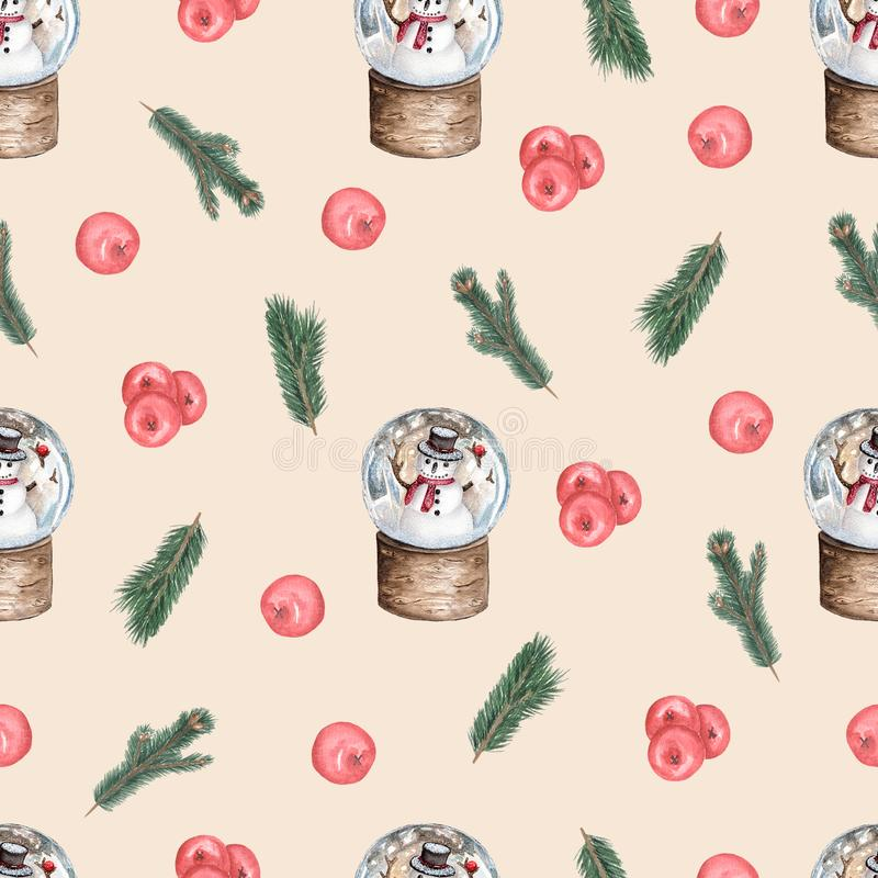 Christmas seamless watercolor pattern with fairy snow globes. Festive Christmas background with berries, Christmas tree branches stock illustration