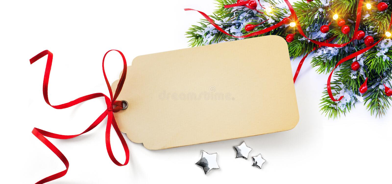 Christmas Season Gift Tag on holidays background. Merry Christmas card with Season Gift Tag on holidays background royalty free stock images