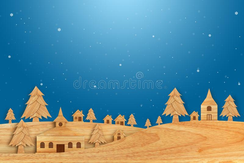 Christmas season made from wood with decorations art style illustration. Landscape city village with Christmas tree in winter snow. Christmas season made from stock photo
