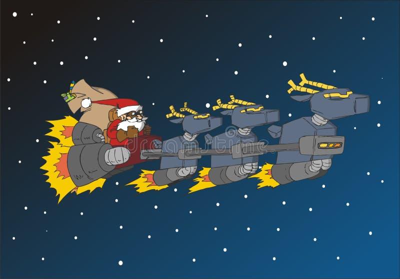 Christmas Series: Santa in his deer sled stock illustration