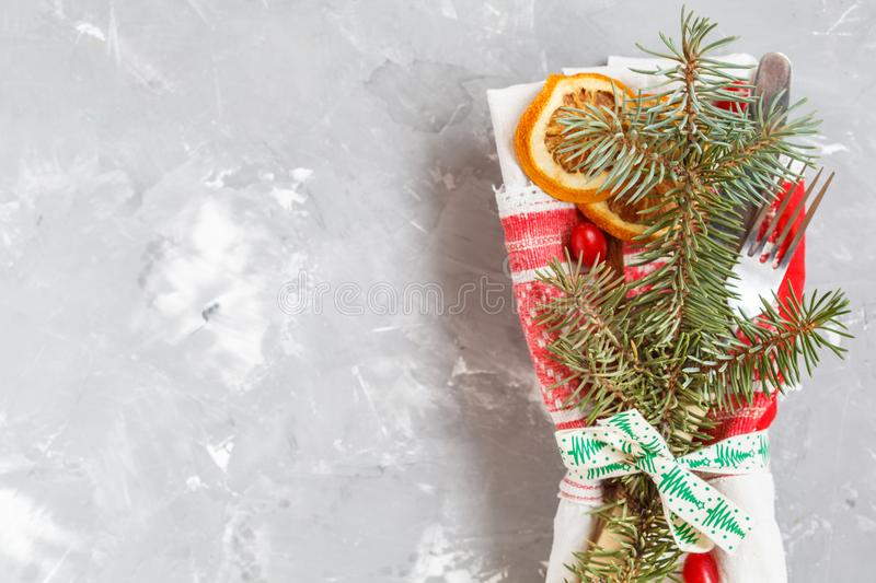 Christmas serving of a white plate royalty free stock image