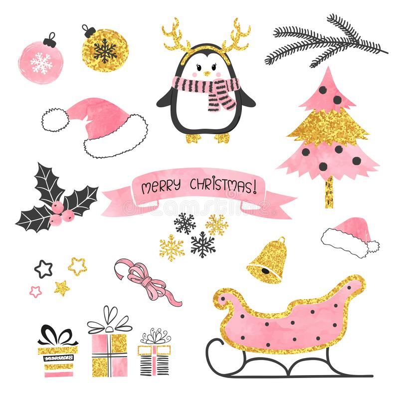 Christmas set. Collection of xmas elements for greeting card design in pink, black and golden colors. vector illustration