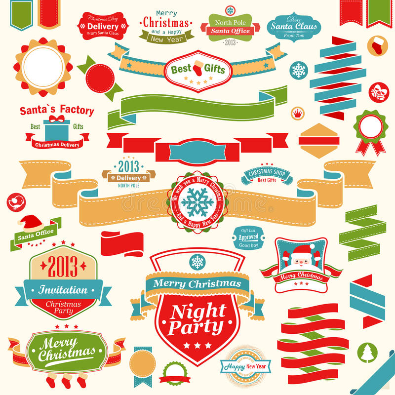 Christmas set - colorful ribbons vector illustration