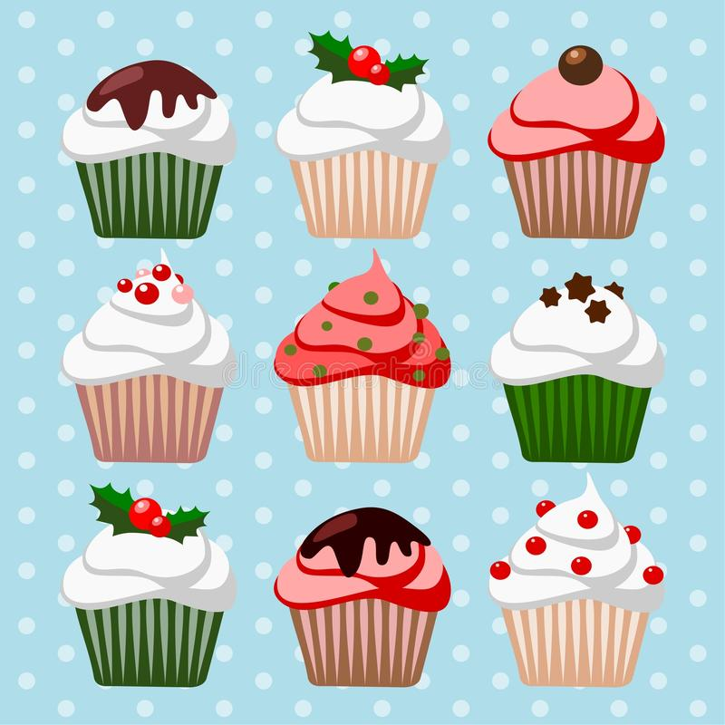 Download Christmas Set Of Cupcakes And Muffins,  Illustrati Royalty Free Stock Photo - Image: 32926025