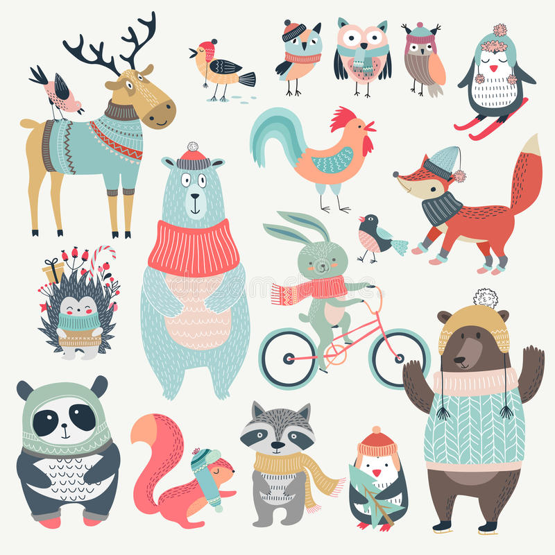 Christmas set with cute animals, hand drawn style. vector illustration