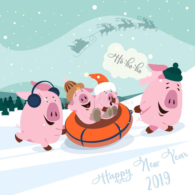 Christmas set of cute little pigs. New Year symbol. Vector illustration of a pig-a symbol of the Chinese new 2019. Funny angry yel. Christmas set of cute little stock illustration