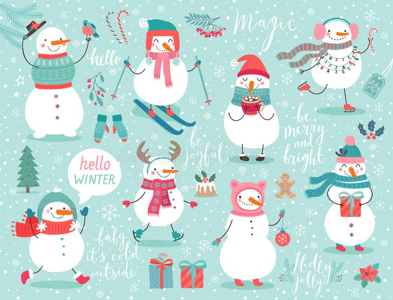 Christmas set with cute snowmen. Christmas set with cute snowmen and other elements. Funny characters with garland, gift, bird, skates, ski and christmas balls royalty free illustration