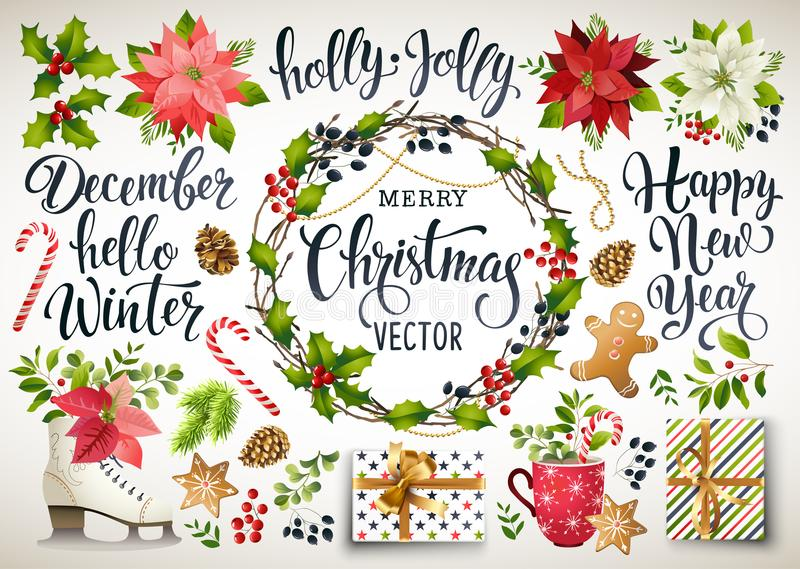 Christmas set design of poinsettia, fir branches, cones, holly and other plants. Cover, invitation, banner, greeting c. Christmas set design composition of