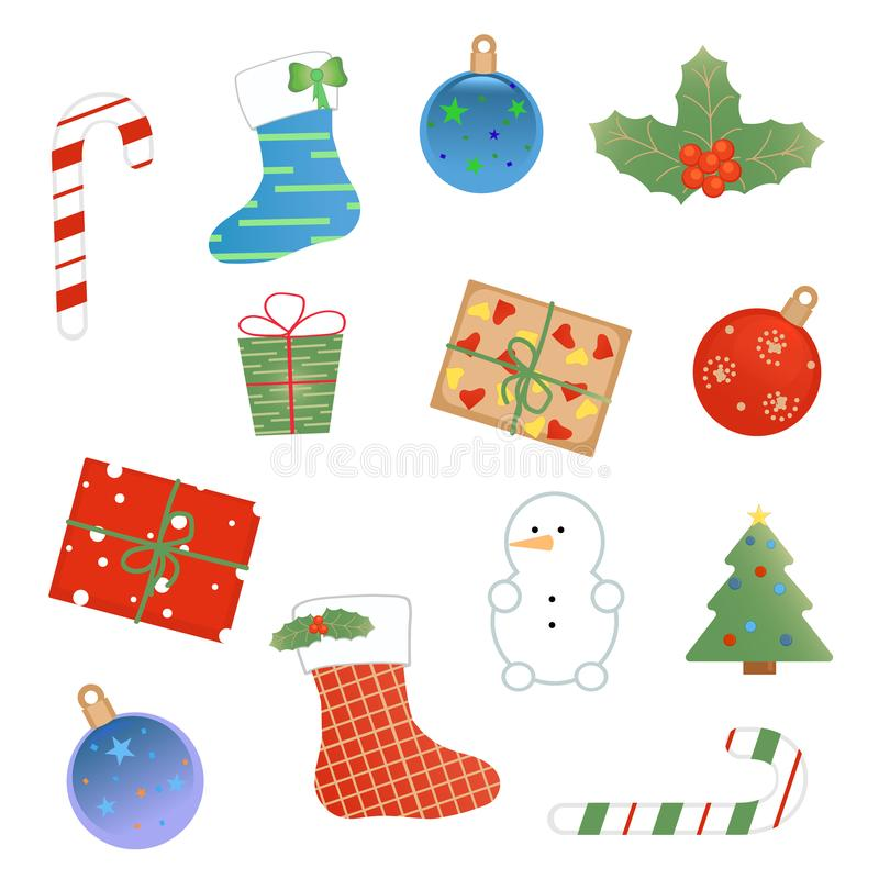Christmas set of different things royalty free illustration