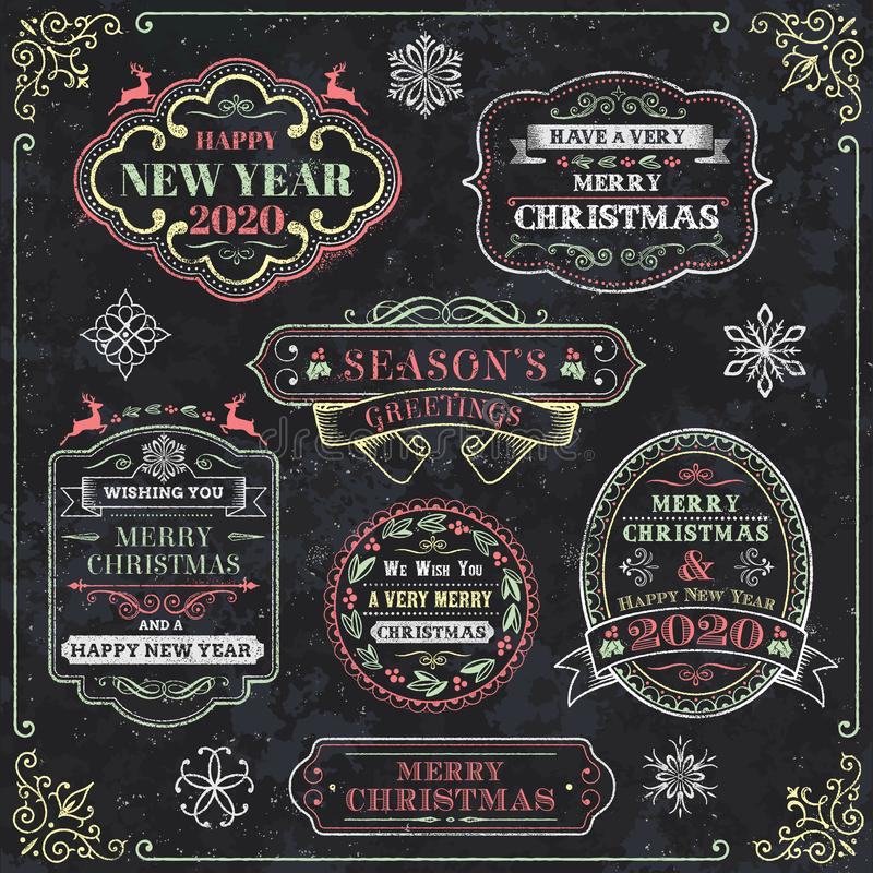 Christmas set - emblems, decorative elements - Chalkboard vector illustration