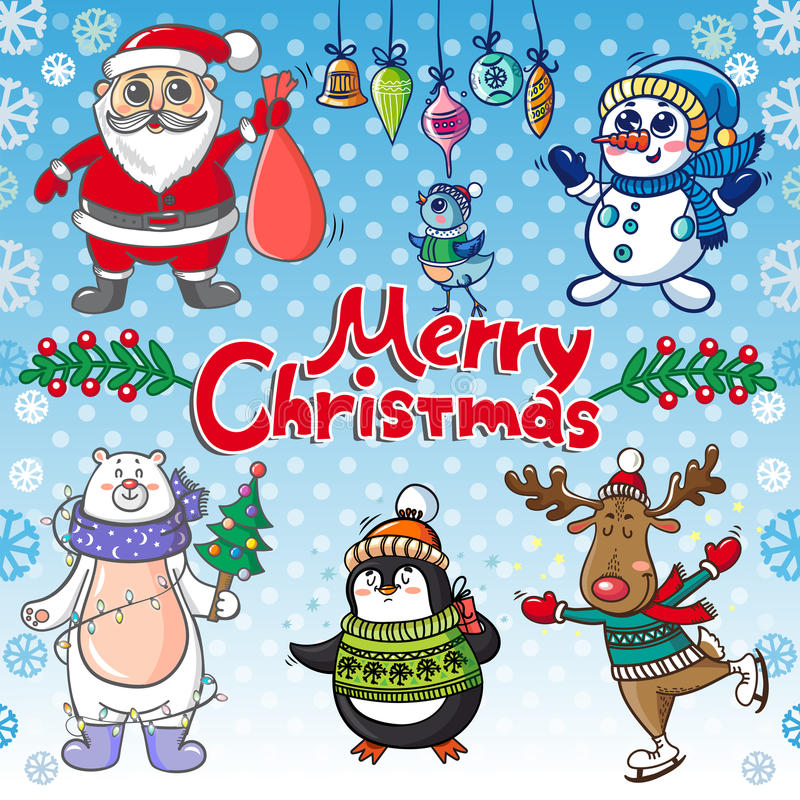 Christmas set with funny personages stock illustration