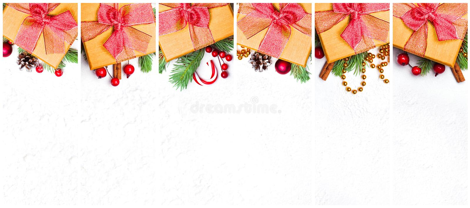 Christmas set of golden Xmas gift. Composition collage with yellow gift, stars, garland, green Xmas fir branch, red holly berries. And baubles on white royalty free stock image