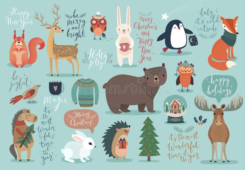 Christmas set, hand drawn style - calligraphy, animals and other. Elements. Vector illustration vector illustration