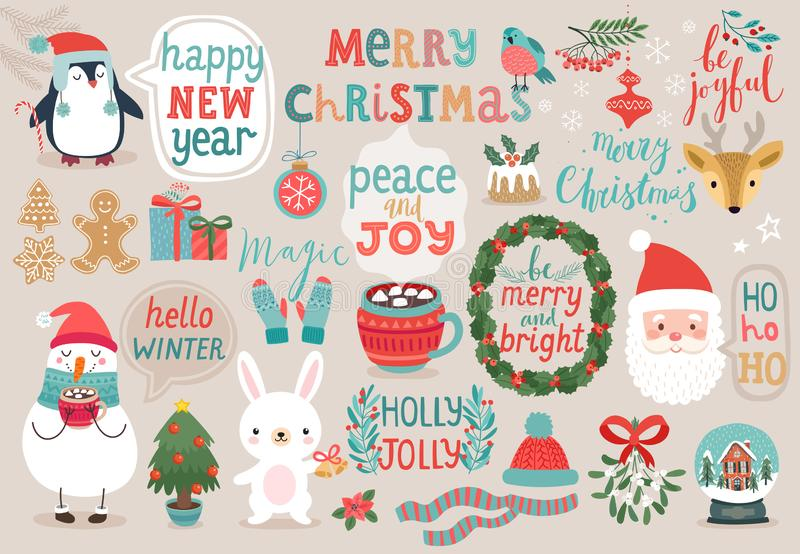 Christmas set, hand drawn style - calligraphy, animals and other elements. Vector illustration stock illustration