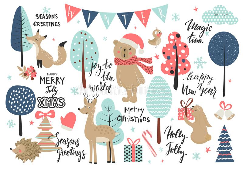 Christmas set, hand drawn style - calligraphy, animals and other elements. Vector illustration. stock illustration