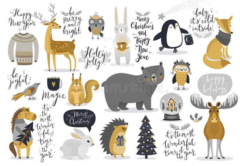 Christmas set, hand drawn style - calligraphy, animals and other royalty free illustration