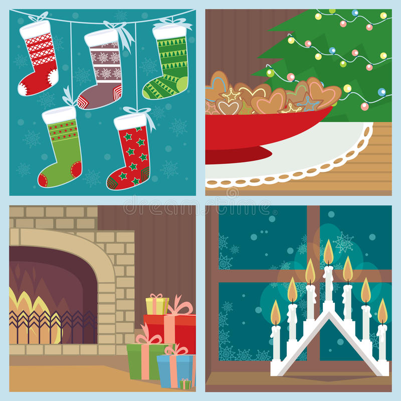Christmas set with holiday symbols royalty free illustration