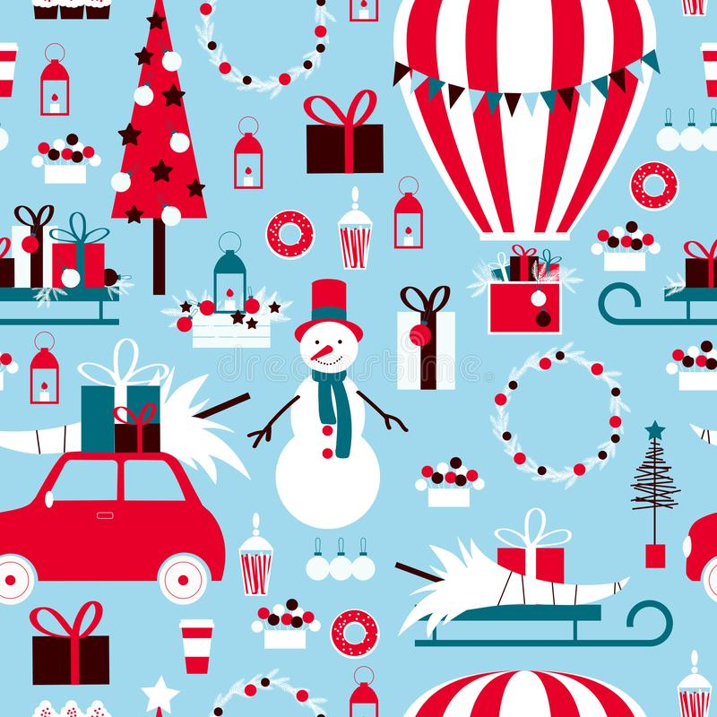 Christmas set with hot air balloon, gifts and snowman.Vector seamless pattern. Christmas set with hot air balloon, gifts and snowman. Vector seamless pattern vector illustration