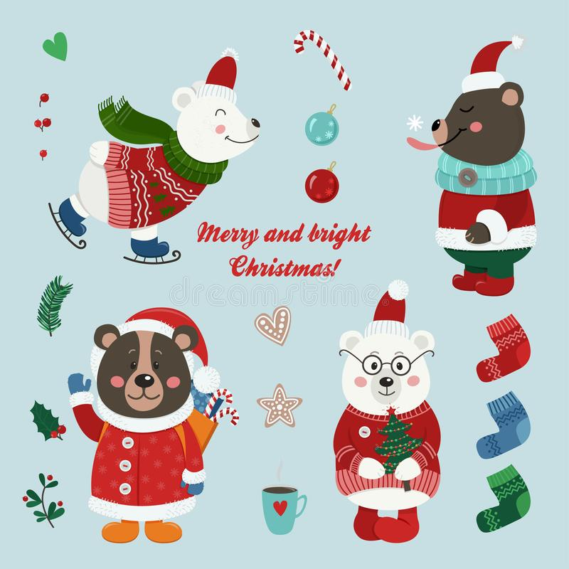 Christmas set with isolated cute bears dressed in winter clothes stock illustration