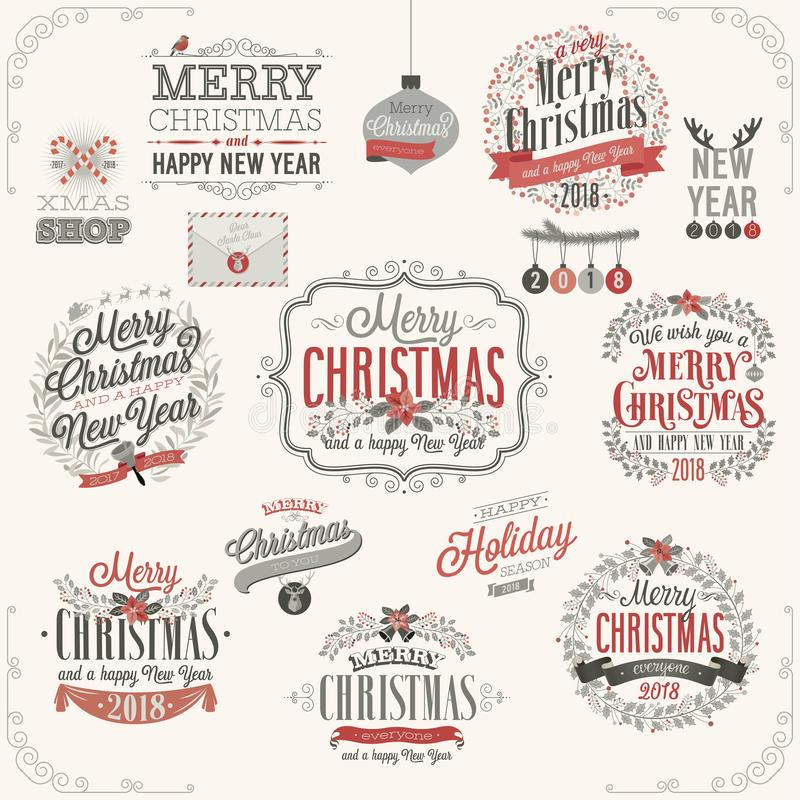 Christmas set - labels. Emblems and other decorative elements royalty free illustration