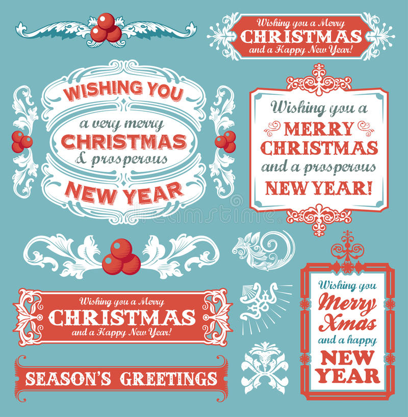 Christmas set - labels, emblems and other decorative elements stock photo