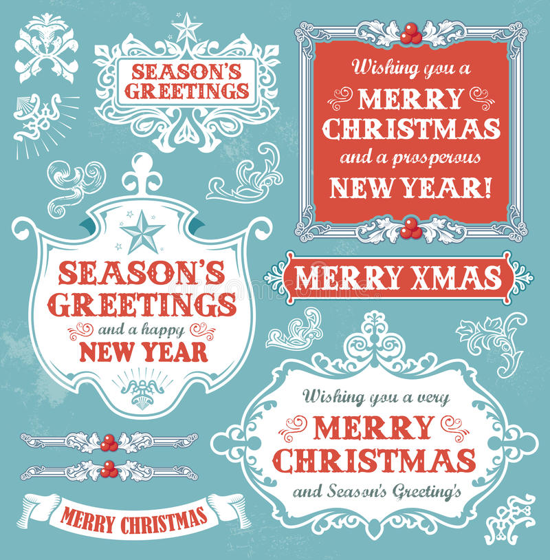 Christmas set - retro labels, banners and signs stock photo