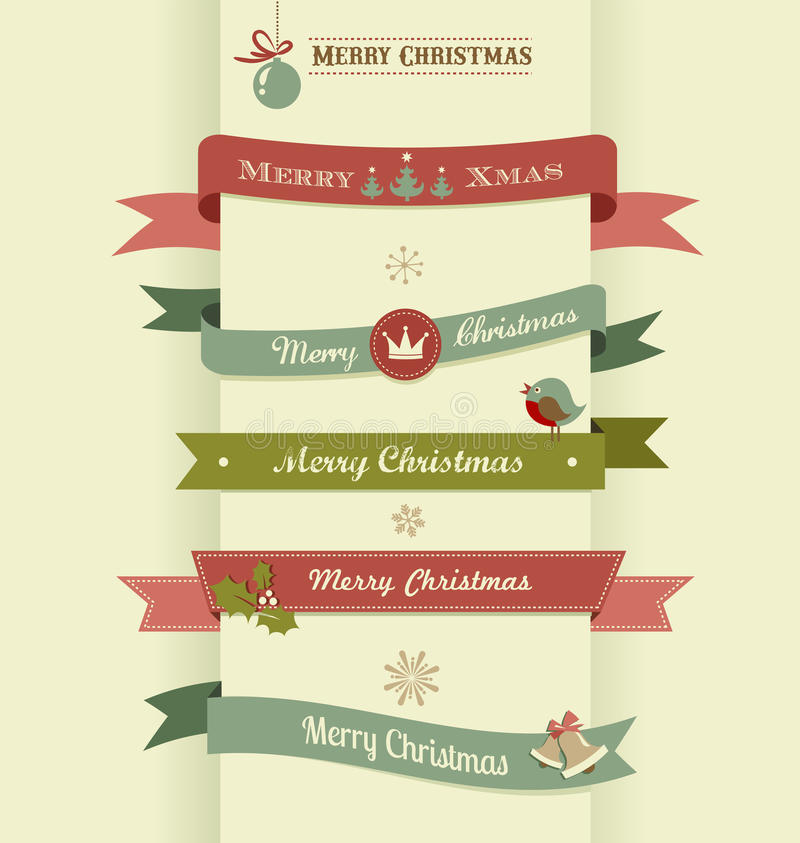 Download Christmas Set Of Ribbons, Emblems And Elements Stock Vector - Image: 34414164