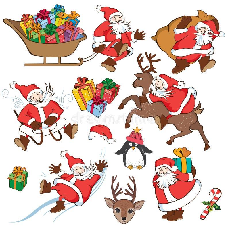 Christmas set with Santa Claus stock photography