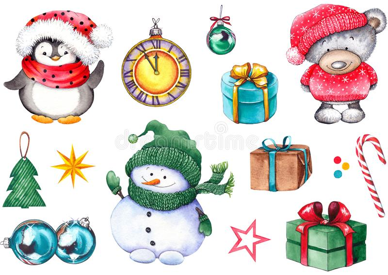 Christmas set with snowman, teddy bear, penguin, gift boxes, clock, balls, candy cane and stars. vector illustration