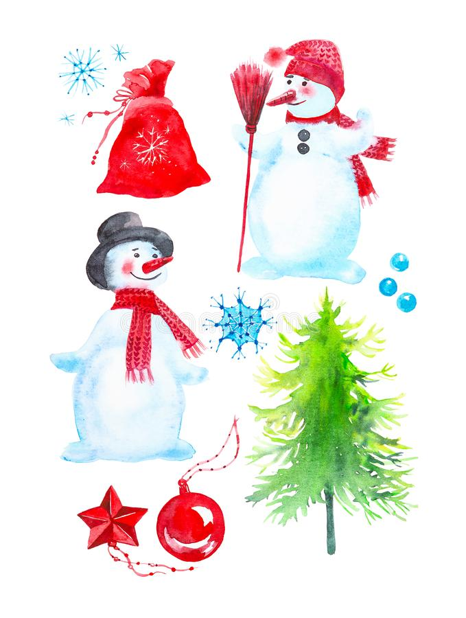 Christmas set of snowmen, snowballs, a bag of gifts, Christmas toys, Christmas tree and snowflakes.Watercolor illustration royalty free stock images