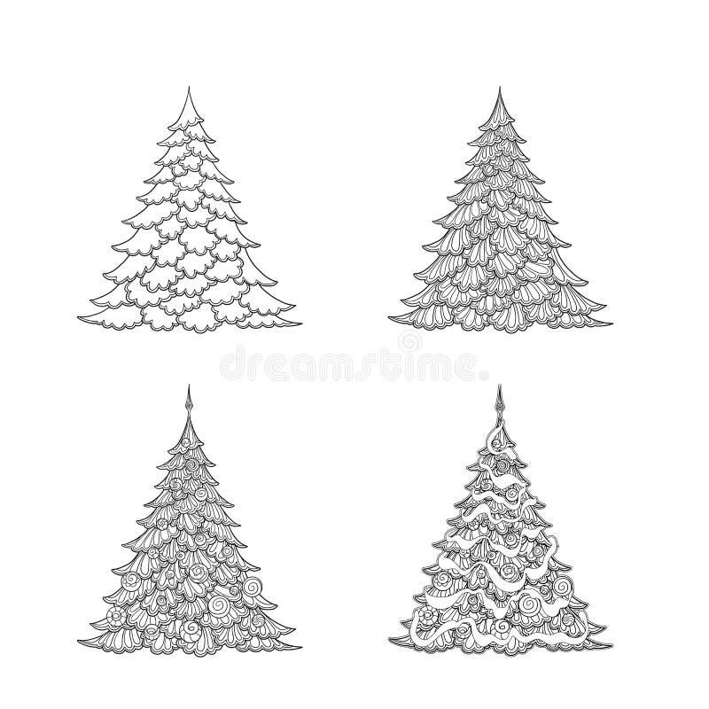 christmas set trees 等高图画 库存例证