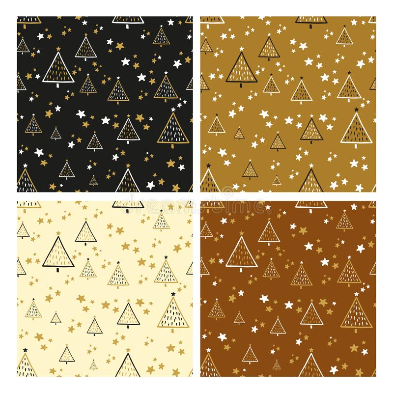 Set of seamless patterns with christmas trees in black and gold. Christmas set of vector hand drawn seamless patterns with christmas tree and stars in gold royalty free illustration