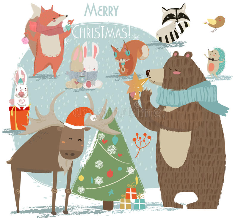 Free Christmas Set With Wild Animals Royalty Free Stock Photo - 78152035