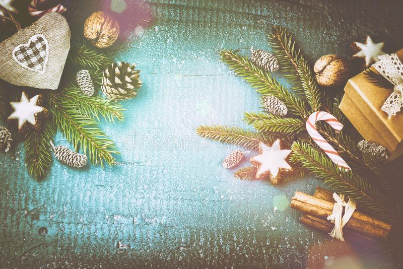 Christmas setting with seasonal spices and sweets royalty free stock images