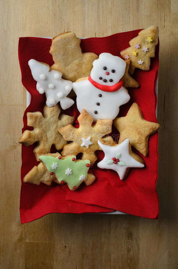 Christmas Shaped Biscuit Selection from Above stock photo
