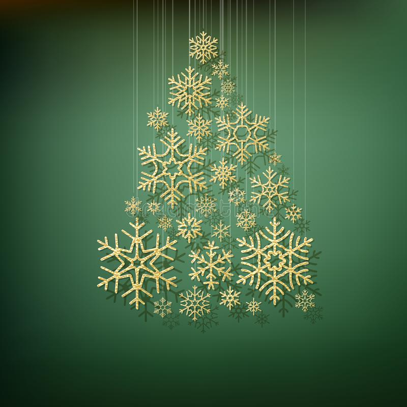 Christmas shining fir tree made from gold snowflakes. Elegant card template. EPS 10 stock illustration