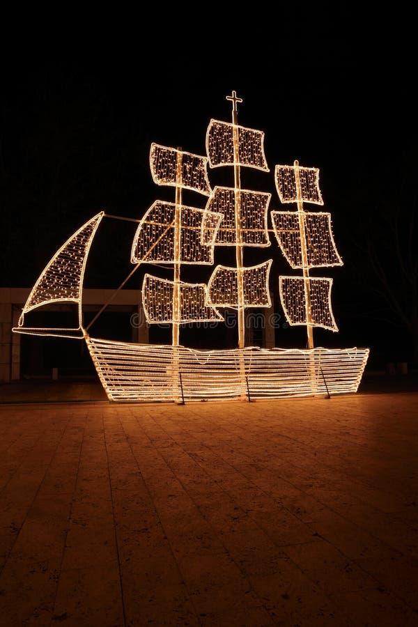 Free Christmas Ship At Night Royalty Free Stock Photography - 17742697
