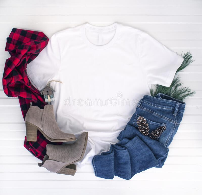 Free Christmas Shirt Mockup - White Tshirt With Buffalo Plaid Scarf, Boots & Jeans Stock Photography - 179310842