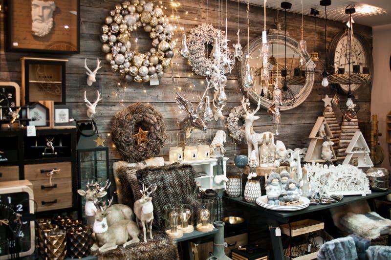Christmas shop interior seasonal offer stock photos