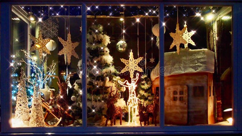 Christmas Shop Window with Festive Decorations royalty free stock photo