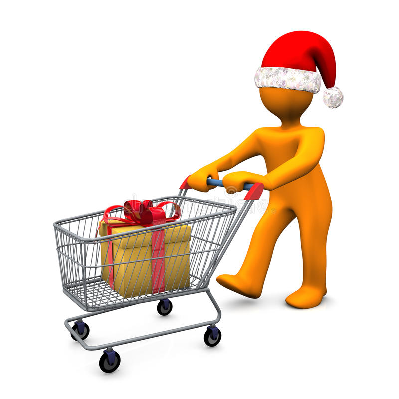 Download Christmas Shopper With Trolley Royalty Free Stock Images - Image: 25307239