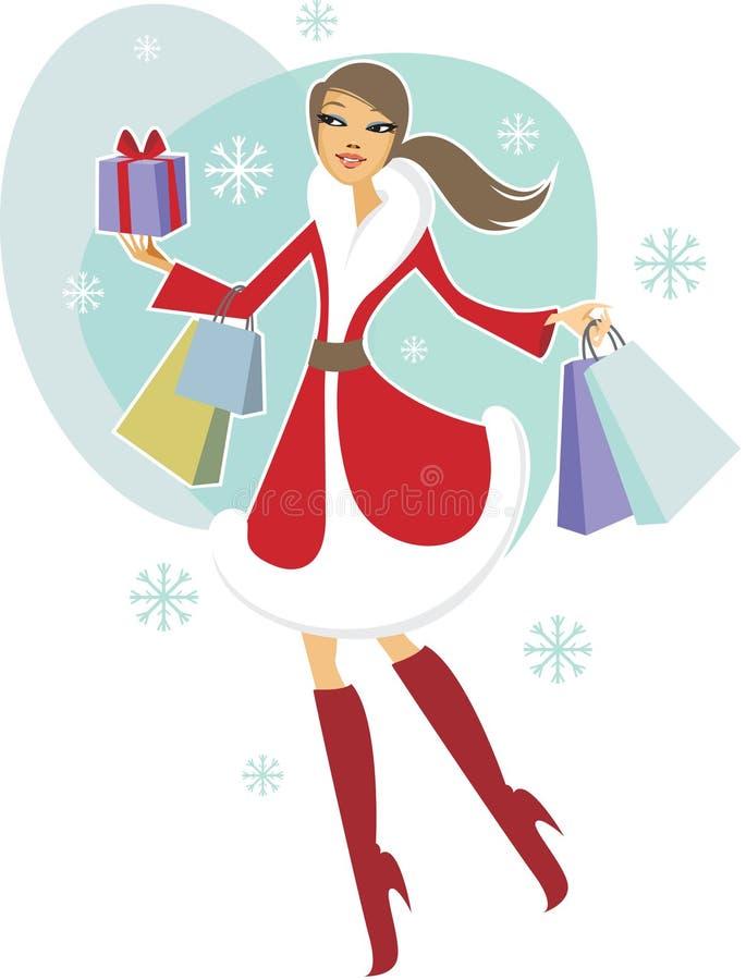 Christmas shopping vector illustration