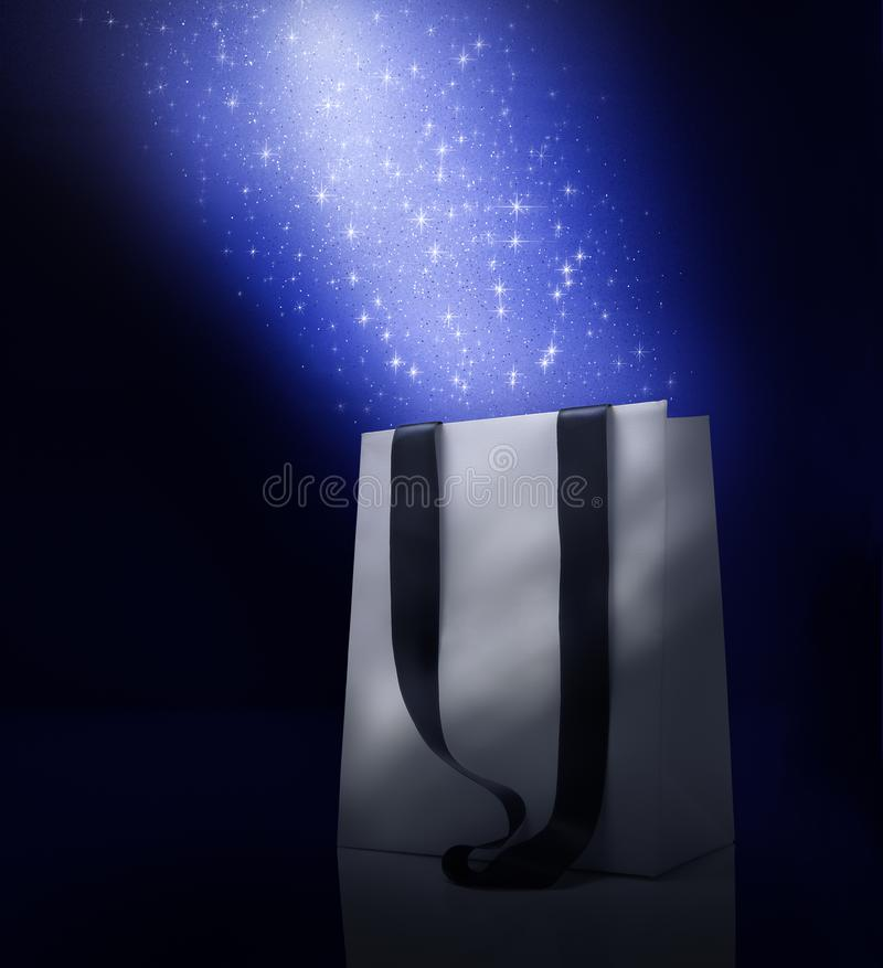 Christmas shopping bag with stars fantasy royalty free stock photography