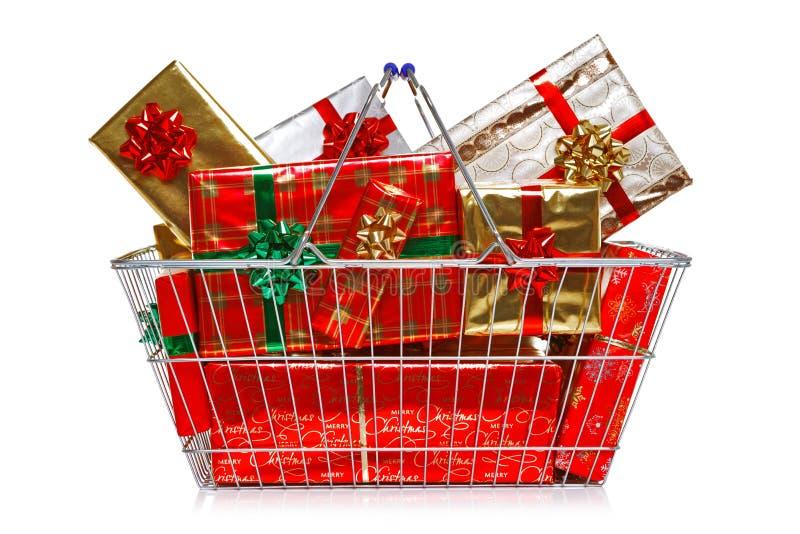 Christmas shopping basket royalty free stock photography