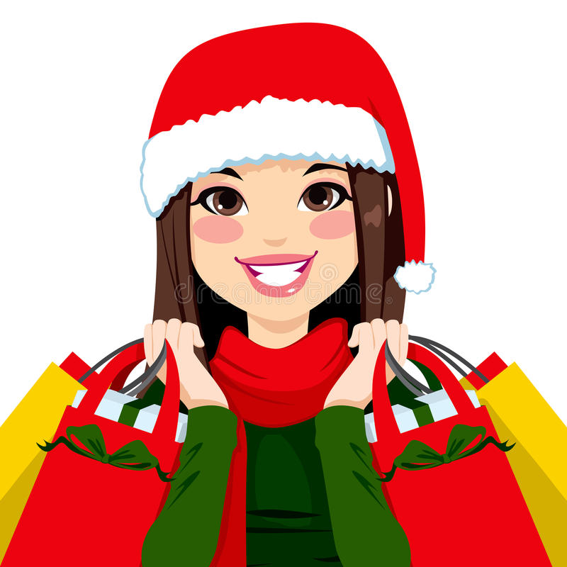 Christmas Shopping Brunette stock illustration
