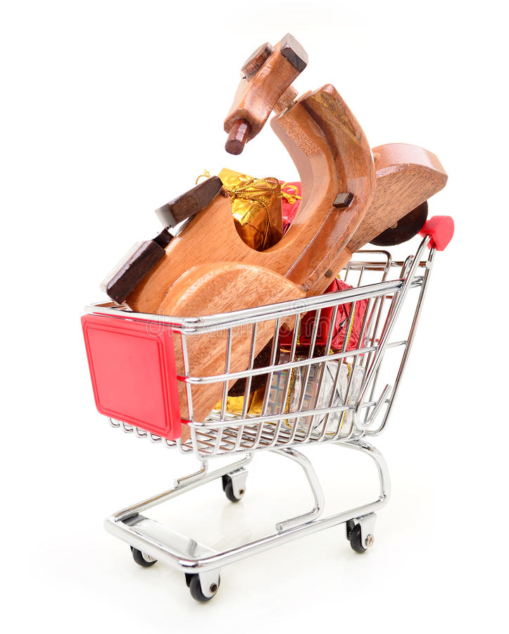 Download Christmas Shopping Cart With Gifts And Toys Stock Image - Image: 36054835