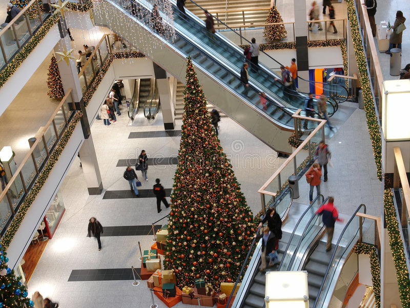Christmas shopping center royalty free stock photos