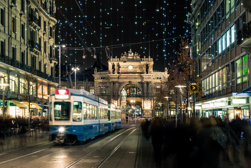 Christmas shopping in the decorated Zurich Bahnhofstrasse - 6. Christmas shopping in the decorated Zurich Bahnhofstrasse royalty free stock photo